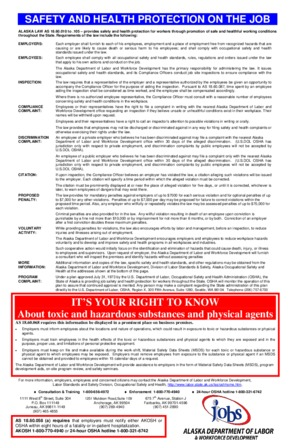Free Alaska Safety and Health Protection on the Job Poster PDF (Job Safety Law Poster)