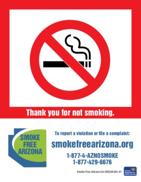 Free Arizona Smoke-Free Arizona  PDF (Anti-Smoking Law Poster)