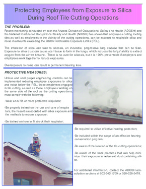 Free Arizona Exposure to Silica During Roof Cutting Poster PDF