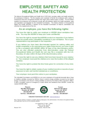 Free Arizona Employee Safety and Health Protection Poster (Bilingual) PDF (Job Safety Law Poster)