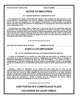 Free Arizona Notice to Employees (Workers' Compensation) Poster (Bilingual) PDF (Workers Compensation Law Poster)