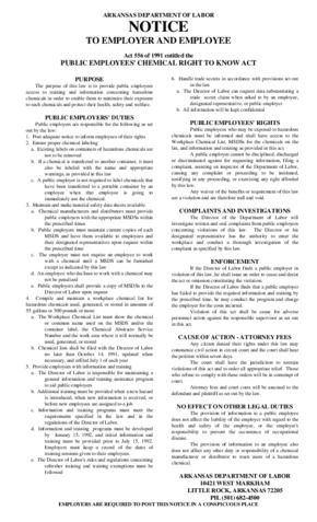 Free Arkansas Public Employees Chemical Right to Know Act PDF (Job Safety Law Poster)