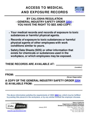 Free California Access to Medical and Exposure Records PDF