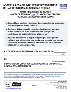 Free California Access to Medical and Exposure Records (Spanish) PDF