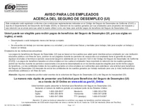 Free California Unemployment Insurance Benefits (Spanish) PDF (Unemployment Law Poster)