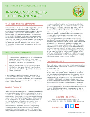 Free California Transgender Rights in the Workplace Poster  PDF