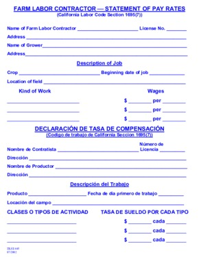 Free California Farm Labor Contractor Statement of Pay Rates PDF