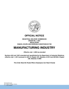 Free California Industrial Welfare Commission (IWC) Wage Order #1 Manufacturing Industry PDF