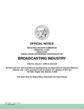 Free California Industrial Welfare Commission (IWC) Wage Order #11 Broadcasting Industry PDF