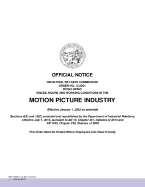 Free California Industrial Welfare Commission (IWC) Wage Order #12 Motion Picture Industry PDF