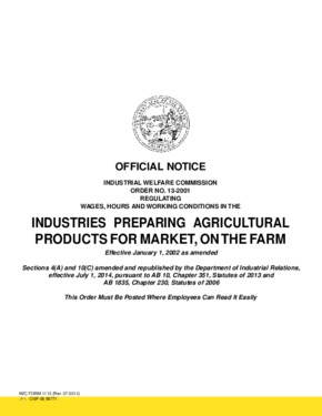 Free California Industrial Welfare Commission (IWC) Wage Order #13 Industries Preparing Agricultural Products for Market, on the Farm PDF