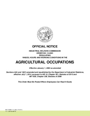 Free California Industrial Welfare Commission (IWC) Wage Order #14 Agricultural Occupations PDF