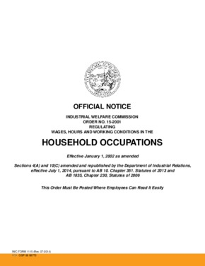 Free California Industrial Welfare Commission (IWC) Wage Order #15 Household Occupation PDF