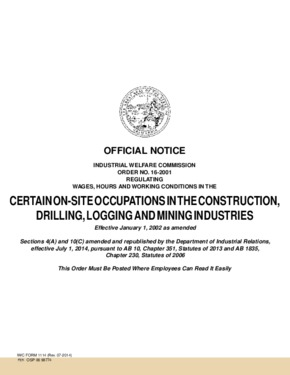 Free California Industrial Welfare Commission (IWC) Wage Order #16 Certain On-Site Occupations in the Construction, Drilling, Logging and Mining PDF