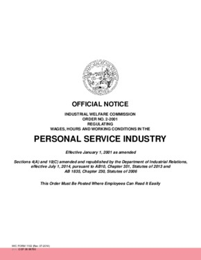 Free California Industrial Welfare Commission (IWC) Wage Order #2 Personal Services Industry PDF
