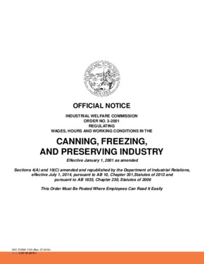 Free California Industrial Welfare Commission (IWC) Wage Order #3 Canning, Freezing, and Preserving Industry PDF