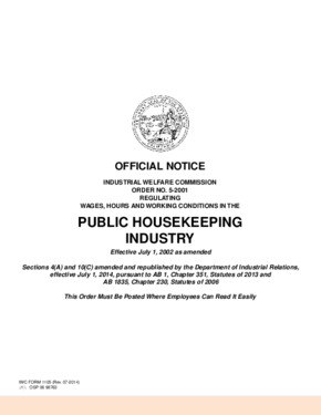 Free California Industrial Welfare Commission (IWC) Wage Order #5 Public Housekeeping Industry PDF