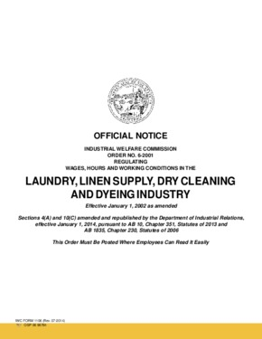 Free California Industrial Welfare Commission (IWC) Wage Order #6 Laundry, Linen Supply, Dry Cleaning and Dyeing Industry PDF