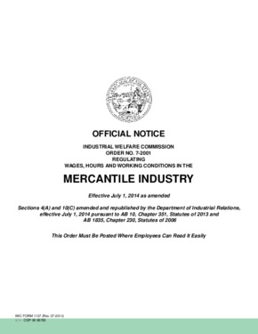 Free California Industrial Welfare Commission (IWC) Wage Order #7 Mercantile Industry PDF