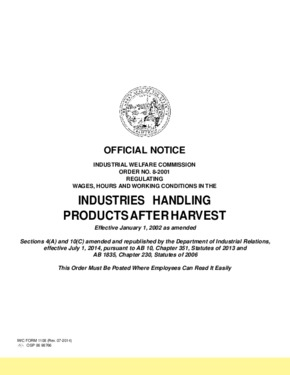 Industrial Welfare Commission (IWC) Wage Order #8 Industries Handling Products After Harvest PDF