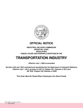Free California Industrial Welfare Commission (IWC) Wage Order #9 Transportation Industry PDF