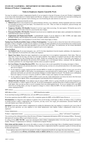 Free California Notice to Employees - Injuries caused by Work PDF (Workers Compensation Law Poster)