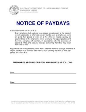 Notice of Paydays Poster PDF