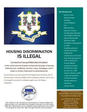 Free Connecticut Housing Discrimination is Illegal Poster PDF