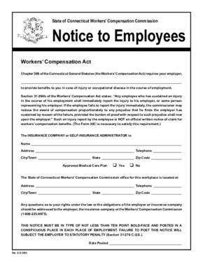 Free Connecticut Connecticut Workers' Compensation Commission PDF (Workers Compensation Law Poster)