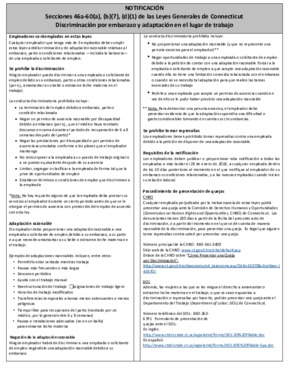 Free Connecticut Pregnancy Discrimination Poster (Spanish) PDF