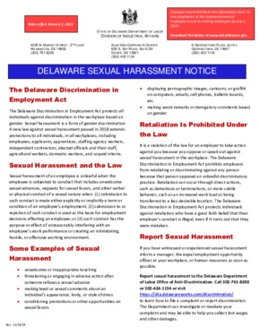 Free Delaware Delaware Sexual Harassment Notice PDF (General Labor Law Poster Poster)