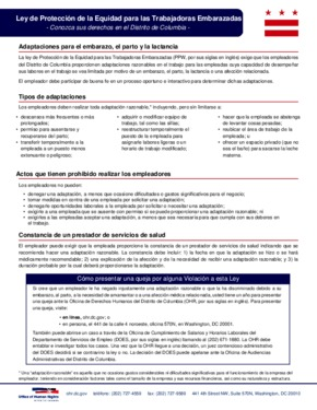 Free District of Columbia Pregnant Workers' Protection Poster (Spanish) PDF (General Labor Law Poster Poster)