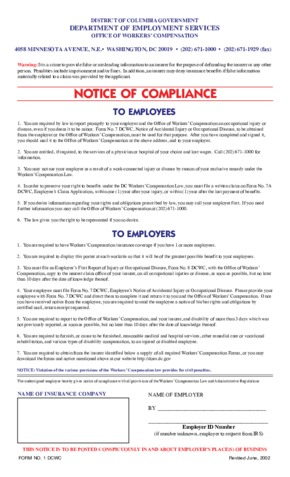 Free District Of Columbia Workers' Compensation Notice PDF (Workers Compensation Law Poster)