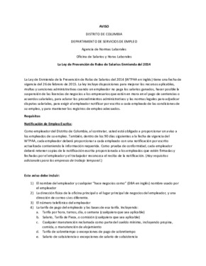 Wage Theft Prevention Act Notice (Spanish) PDF