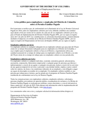 Free District of Columbia Paid Family Leave Notice (Spanish) PDF (Family Leave Law Poster)