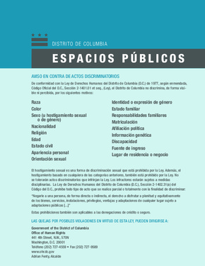 Free District of Columbia Notice of Non-Discrimination Poster (Spanish) PDF (Equal Opportunity Law Poster)