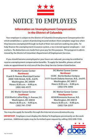 Free District Of Columbia Unemployment Compensation  PDF (Unemployment Law Poster)