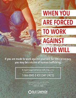 Free Federal DHS Human Trafficking & Forced Labor Poster PDF
