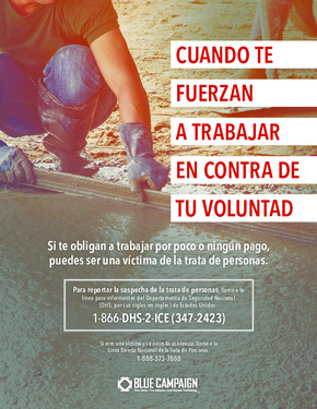 Free Federal DHS Human Trafficking & Forced Labor Poster (Spanish) PDF