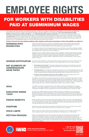 Free Federal Employee Rights for Workers with Disabilities paid at Special Minimum Wages PDF
