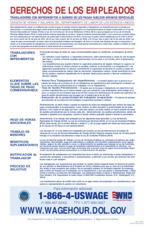 Free Federal Employee Rights for Workers with Disabilities paid at Special Minimum Wages  (Spanish) PDF