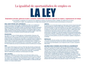 Free Federal Equal Employment Opportunity Poster (Spanish) PDF