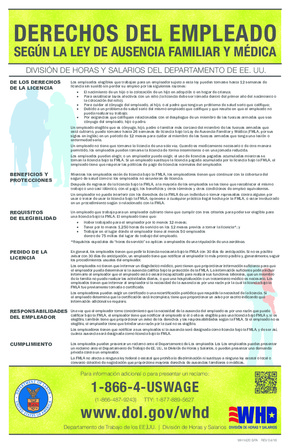 Free Federal Family Medical Leave Act of 1993 (FMLA) (Spanish) PDF (Sick Leave Law Poster)