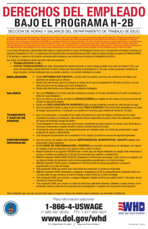 Free Federal Employee Rights Under The H-2B Program (Spanish) PDF