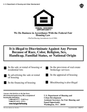 Free Federal HUD Equal Opportunity / Fair Housing Poster PDF