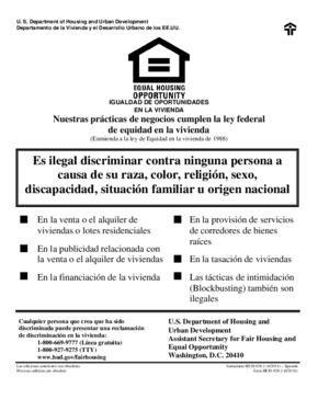 Free Federal HUD Equal Opportunity / Fair Housing Poster (Spanish) PDF