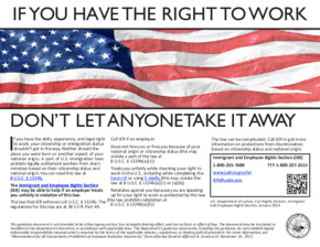 Free Federal E-Verify Right To Work Poster PDF