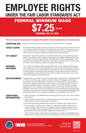 Free Federal FLSA Federal Minimum Wage Poster PDF (Minimum Wage Law Poster)