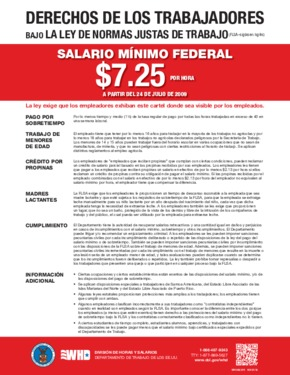 Free Federal FLSA Federal Minimum Wage (Spanish) PDF (Minimum Wage Law Poster)