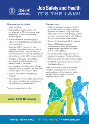 Free Federal OSHA Job Safety & Health Protection Poster (English) PDF (Job Safety Law Poster)